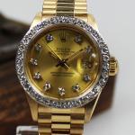 Rolex Datejust Presidentenband, verdeckte Schließe 18 kt/750 Gold mit Diamanten