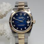 Rolex Datejust Stahl/Gold mit Diamant Zifferblatt schw./blau