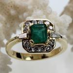 Smaragd Brillant Ring 750 Gelbgold