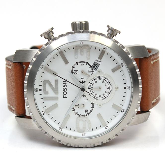 juweliere winter fossil herren armbanduhr stahl leder bq1653. Black Bedroom Furniture Sets. Home Design Ideas